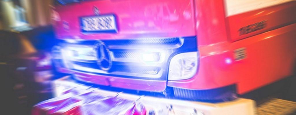 Paramedic EMT truck with lights on